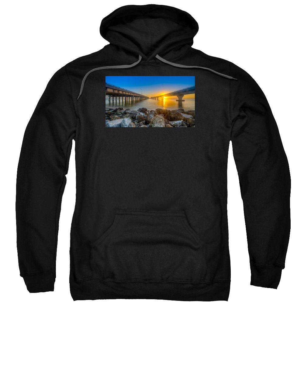 Courtney Campbell Causeway Sweatshirt featuring the photograph Double Bridge Sunrise - Tampa, Florida by Lance Raab