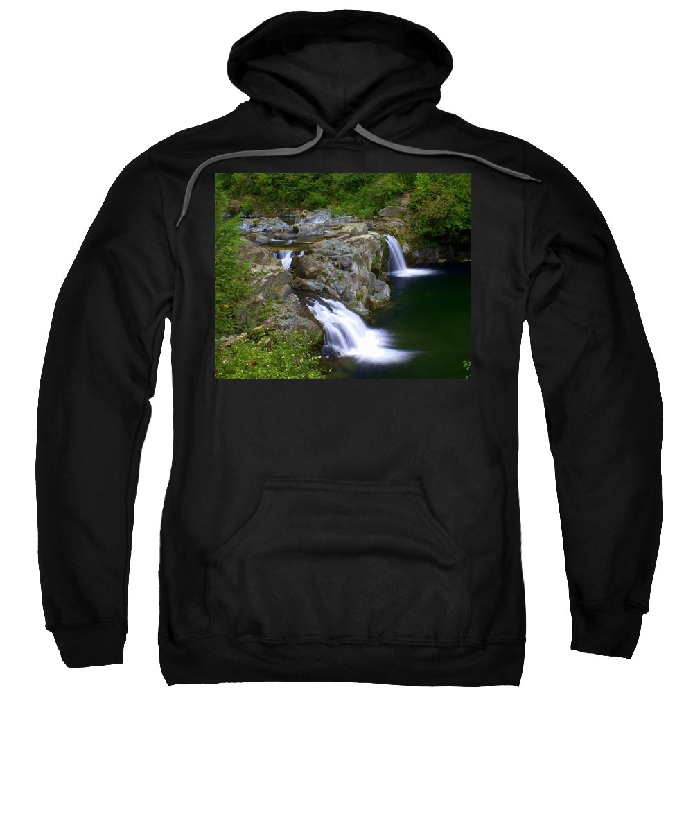Waterfalls Sweatshirt featuring the photograph Double Falls by Marty Koch