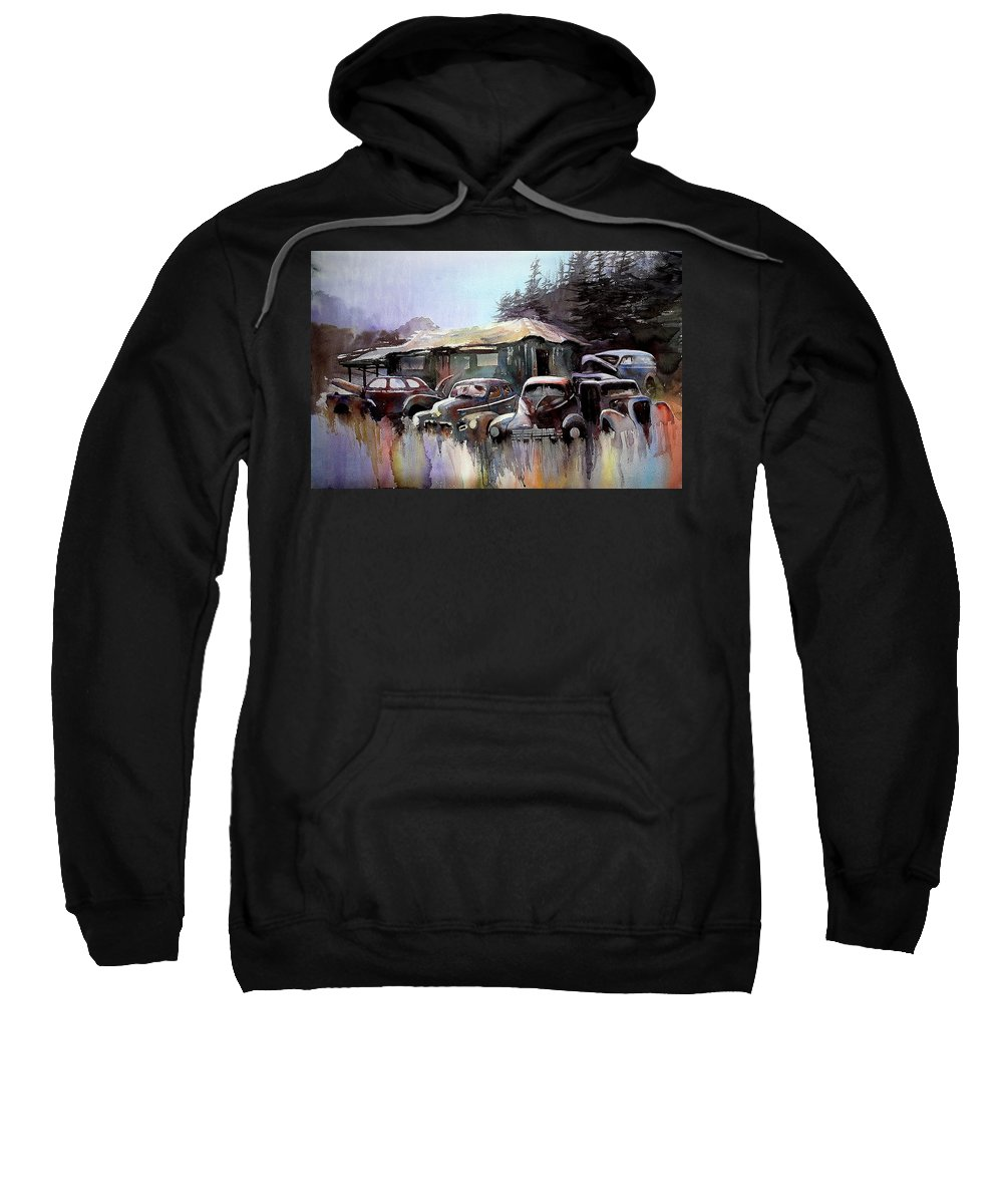 Cars House Sweatshirt featuring the painting Down In The Dell by Ron Morrison