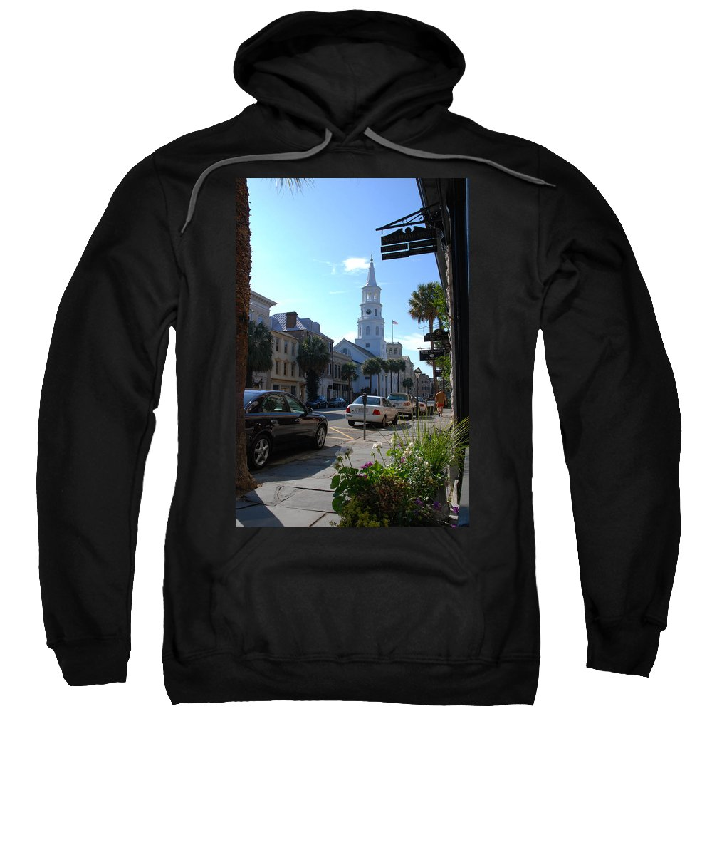 Photography Sweatshirt featuring the photograph Down Town Charleston by Susanne Van Hulst