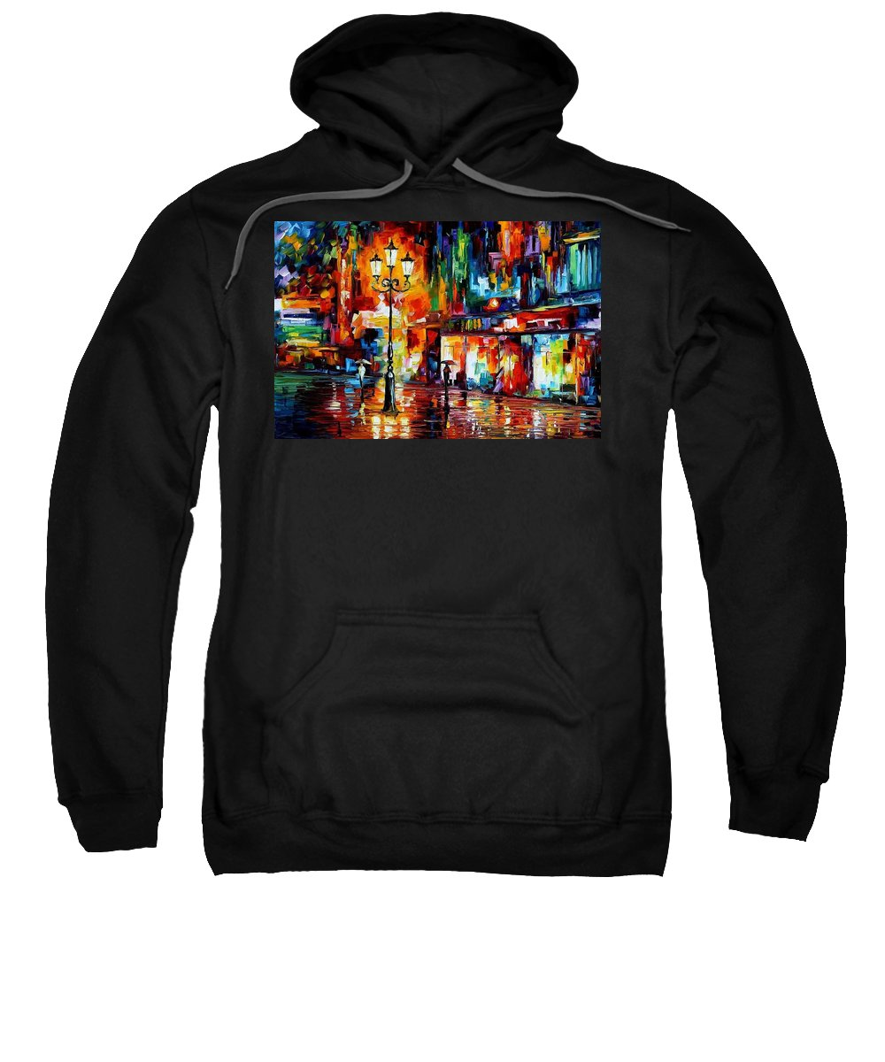 Afremov Sweatshirt featuring the painting Downtown Lights by Leonid Afremov