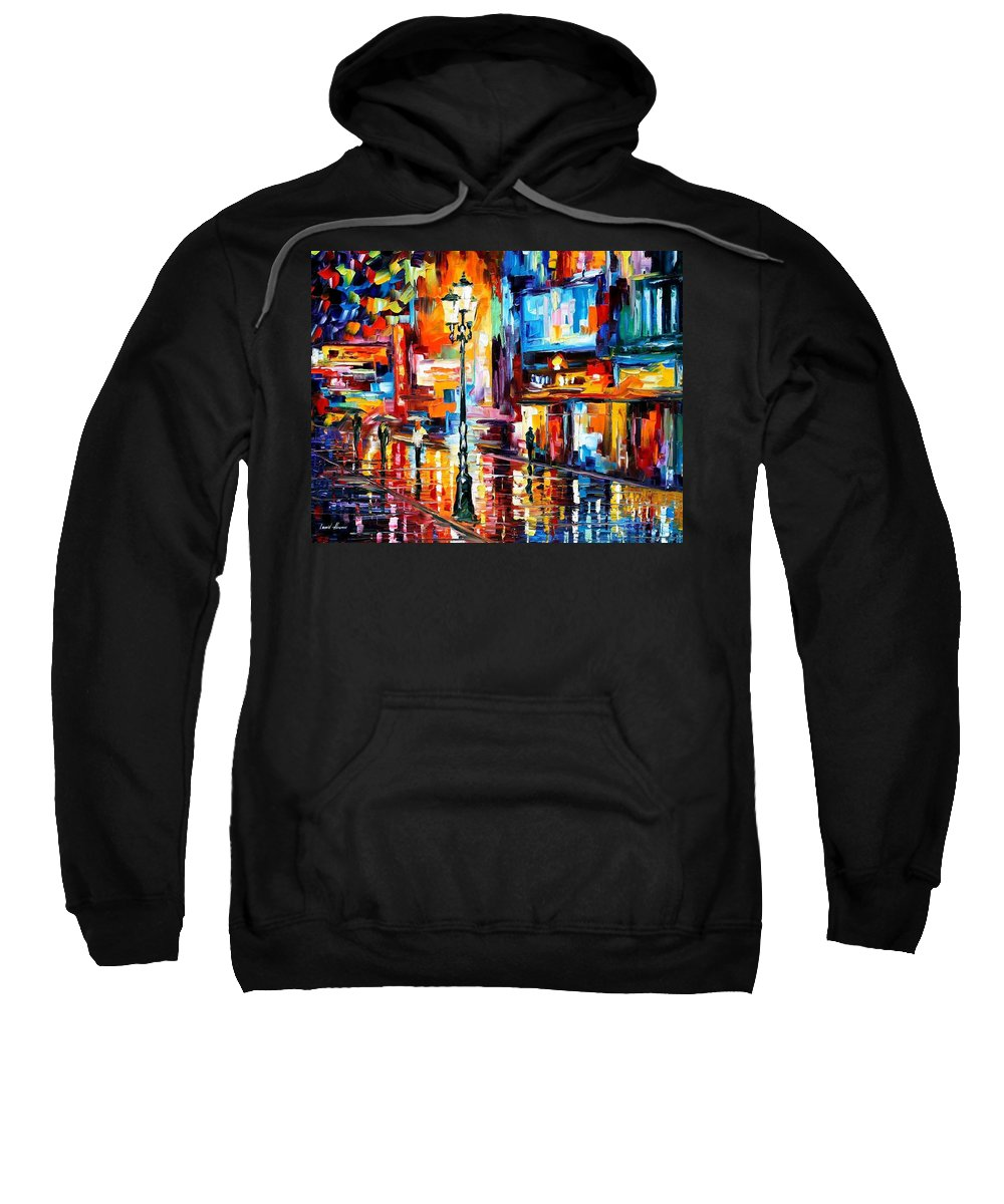 Art Gallery Sweatshirt featuring the painting Downtown Lights - Palette Knife Oil Painting On Canvas By Leonid Afremov by Leonid Afremov