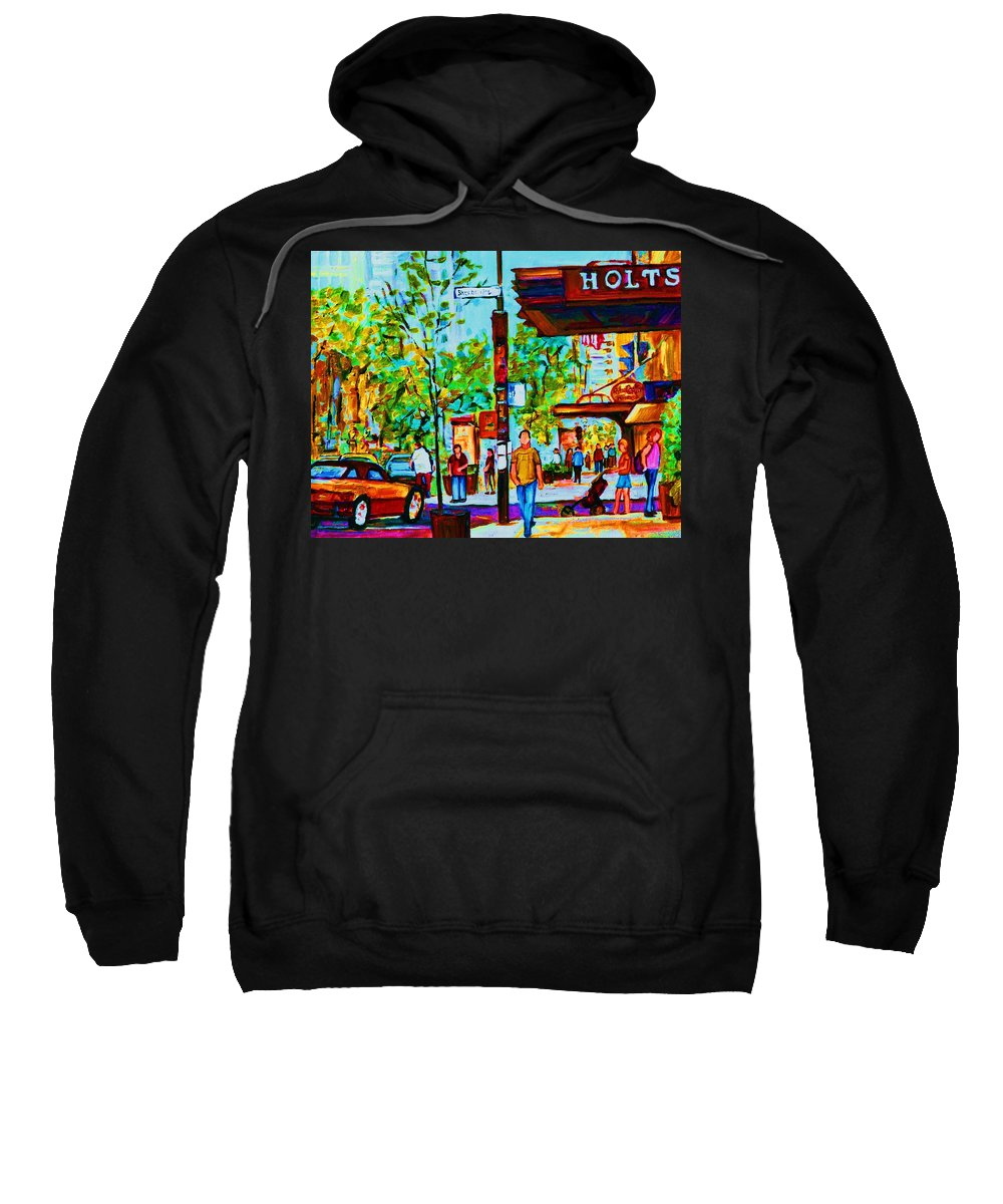 Montreal Streetscene Sweatshirt featuring the painting Downtowns Popping by Carole Spandau