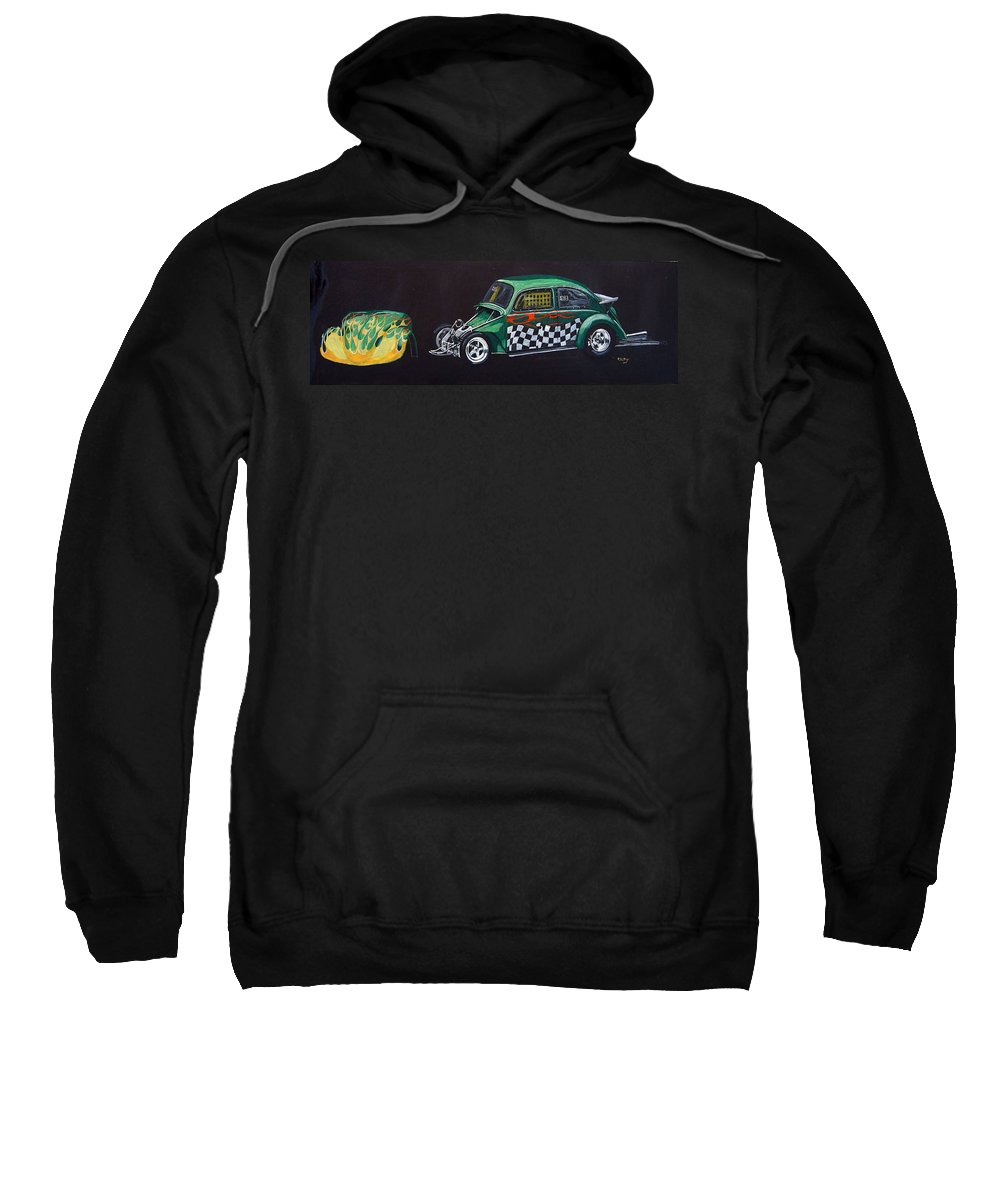Vw Sweatshirt featuring the painting Drag Racing Vw by Richard Le Page