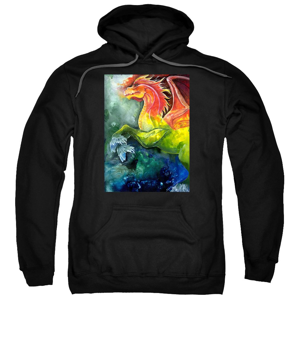 Fantasy Art Sweatshirt featuring the painting Dragon Horse by Sherry Shipley