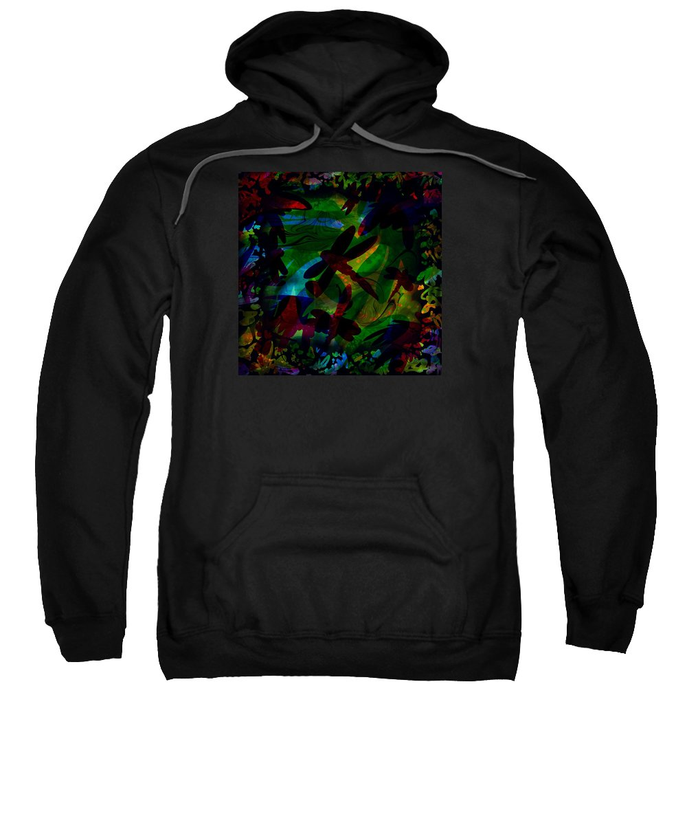 Abstract Sweatshirt featuring the digital art Dragonfly by William Russell Nowicki
