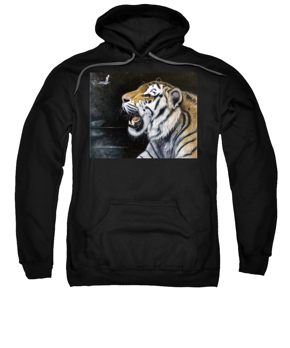 Tiger Sweatshirt featuring the painting Dragonfly by Sandi Baker
