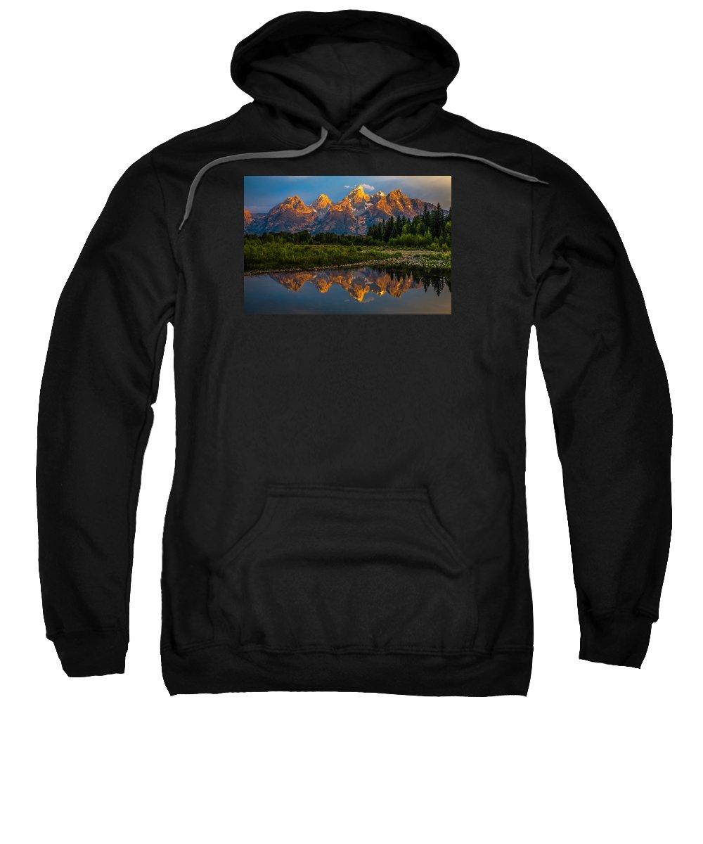 Canyon Sweatshirt featuring the photograph Dramatic Grand Teton Sunrise by Serge Skiba
