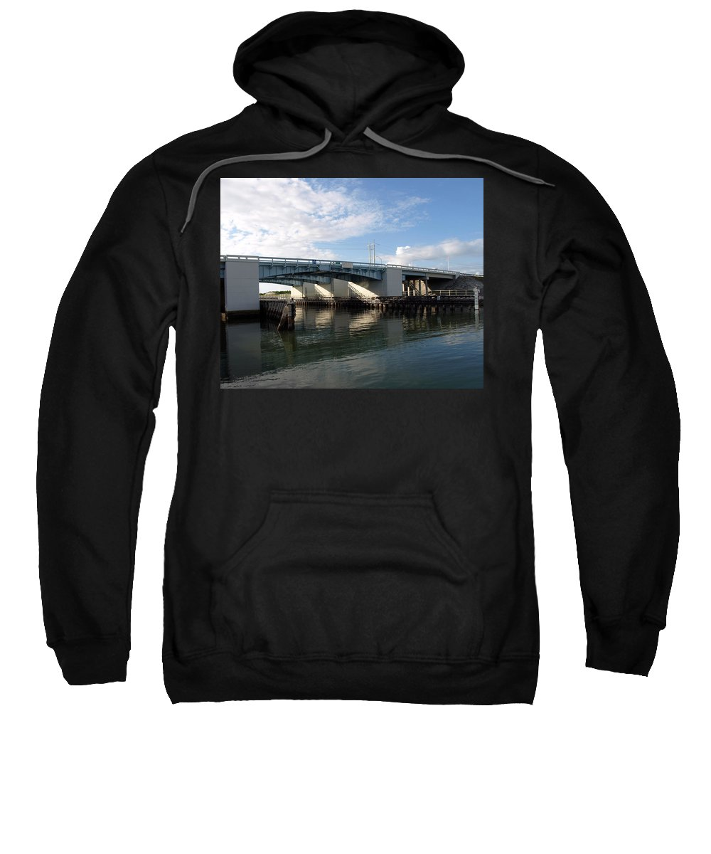 Drawbridge At Port Canaveral In Florida Sweatshirt featuring the photograph Drawbridge At Port Canaveral In Florida by Allan Hughes
