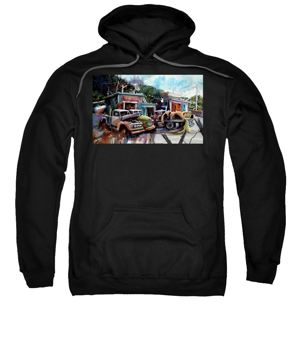 Trucks Buildings Boats Sweatshirt featuring the painting Dreamboat Woodworks by Ron Morrison