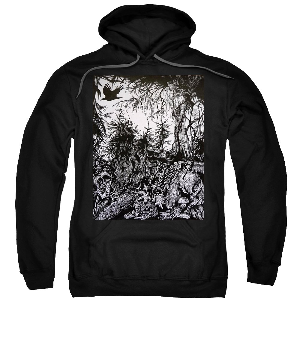 Pen And Ink Sweatshirt featuring the drawing Dreaming Alaska.part One by Anna Duyunova