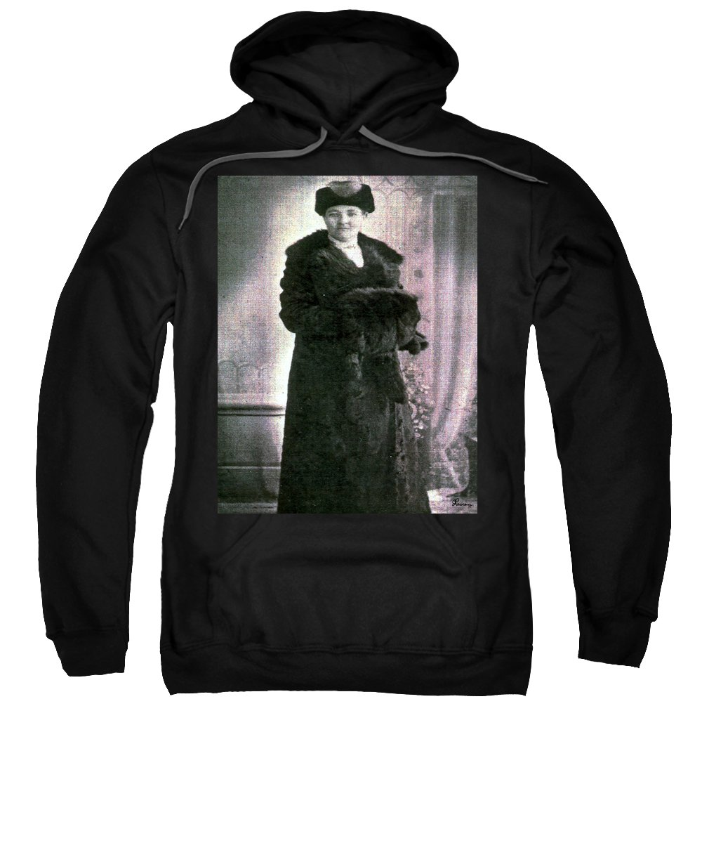 Classic Black And White Old Photo Pioneers Old Days 1900s Fur Coat Sweatshirt featuring the photograph Dressed In Fur by Andrea Lawrence