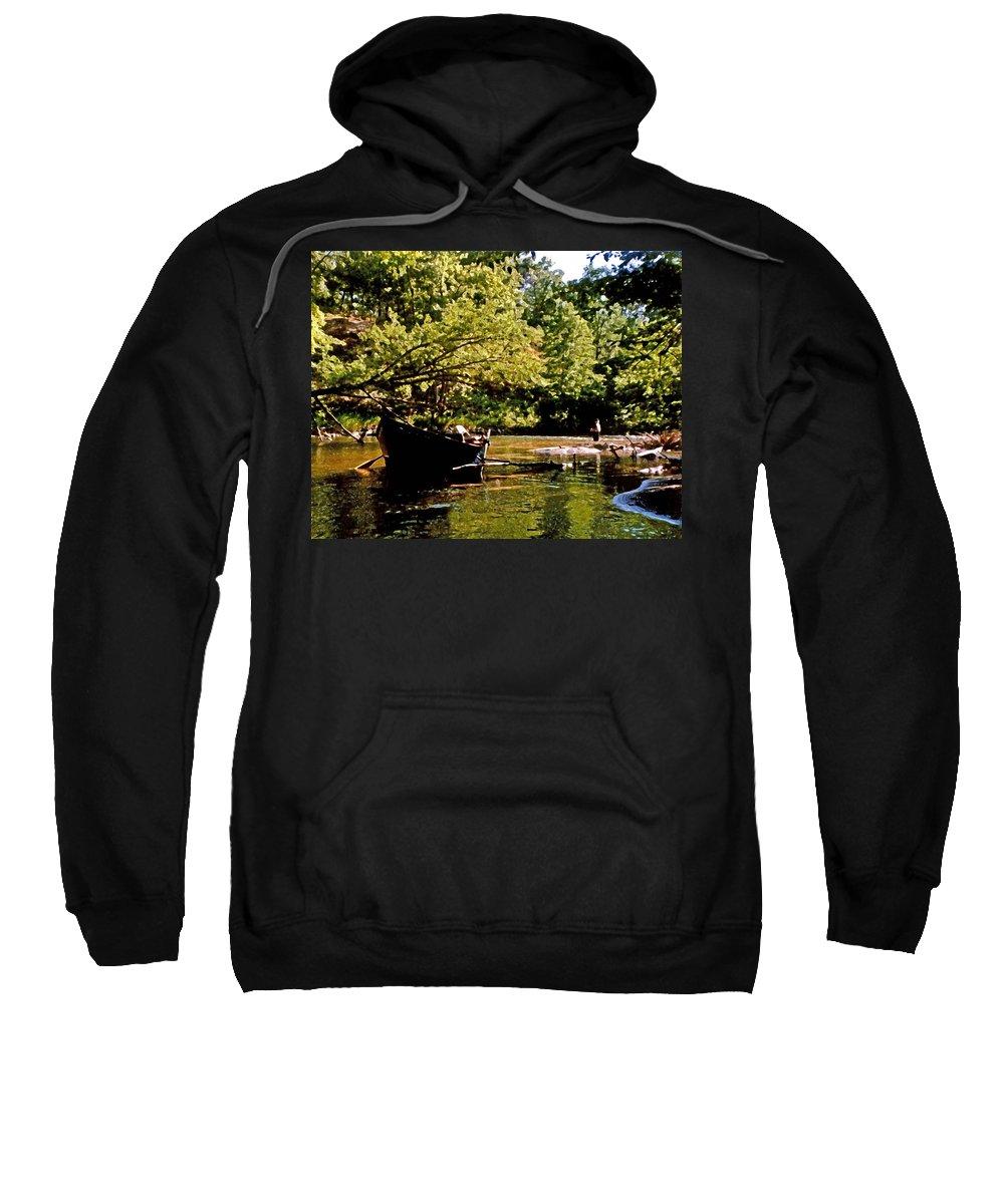Fairhope Sweatshirt featuring the digital art Driftboating by Michael Thomas