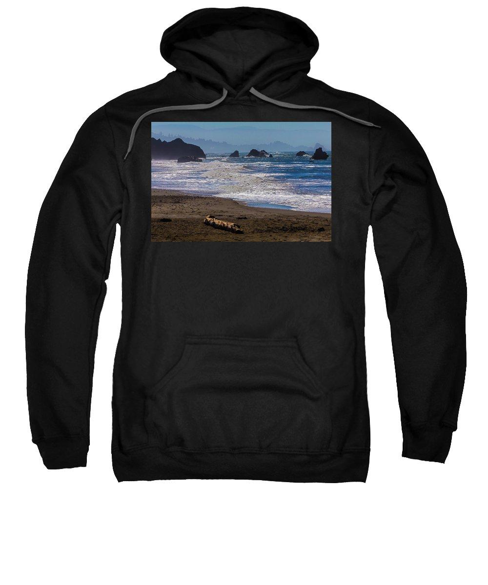 Driftwood Sweatshirt featuring the photograph Driftwood Log by Garry Gay