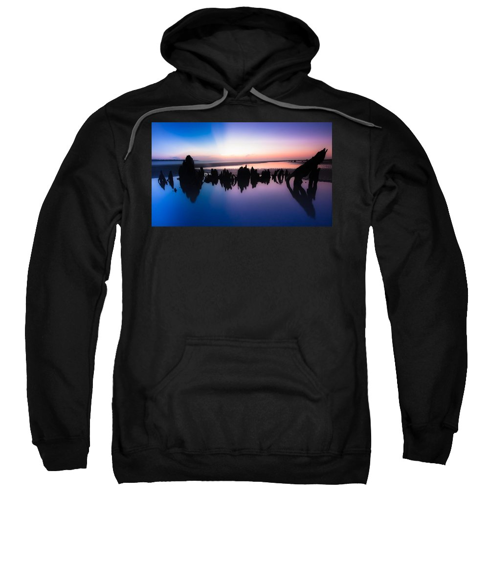 Driftwood Sweatshirt featuring the photograph Driftwood Skyline by Zachary Bale