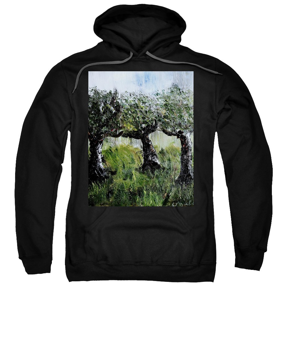 Trees Sweatshirt featuring the painting Drizzle by Evelina Popilian