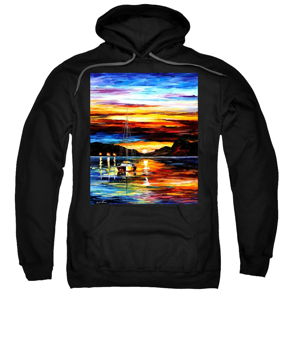 Afremov Sweatshirt featuring the painting Drowned Sunset by Leonid Afremov