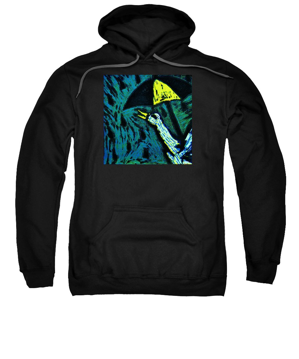 Duck Sweatshirt featuring the mixed media Duck With Umbrella Blue by Lucy Deane