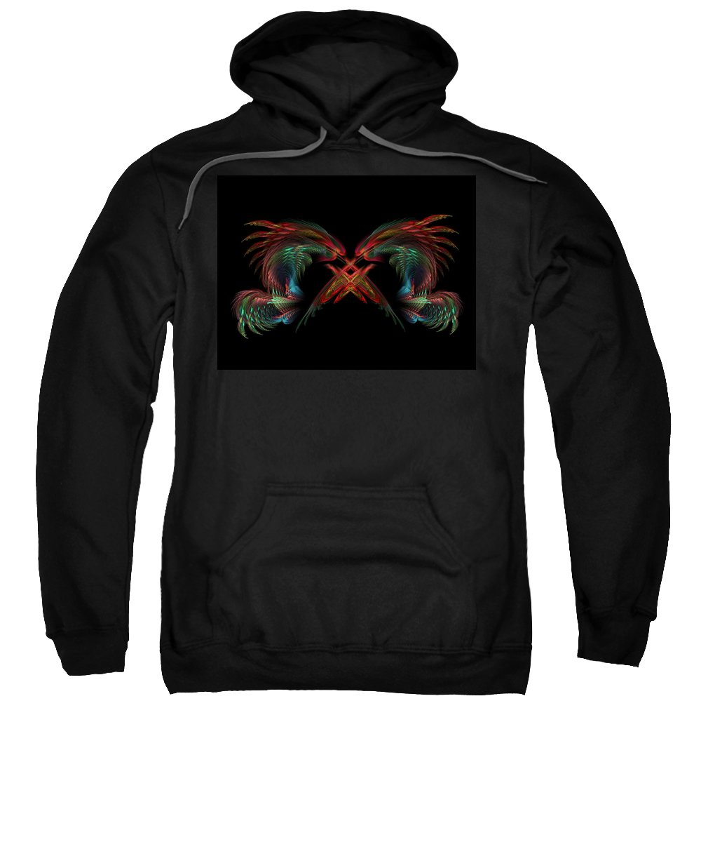 Dragons Sweatshirt featuring the digital art Dueling Dragons by Lyle Hatch
