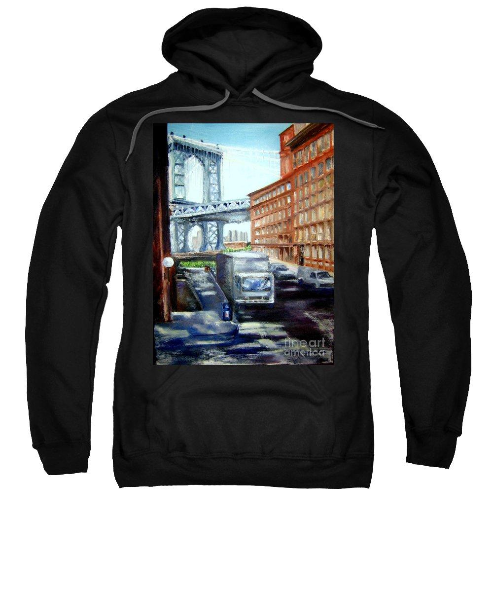 Dumbo Sweatshirt featuring the painting Dumbo Bridge by Sandy Ryan