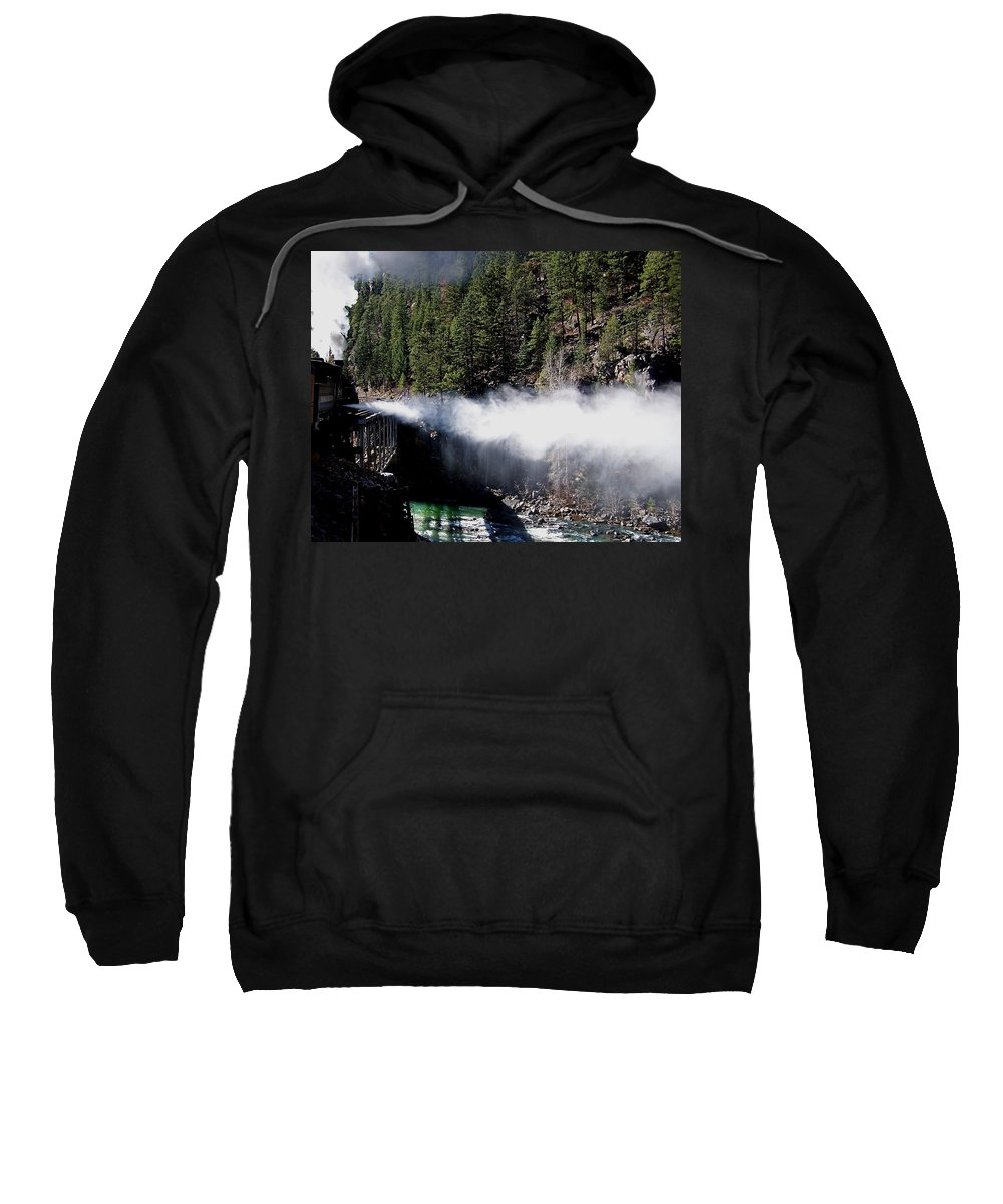 Durango Sweatshirt featuring the photograph Durango Silverton Blowing Off Steam by Ernie Echols