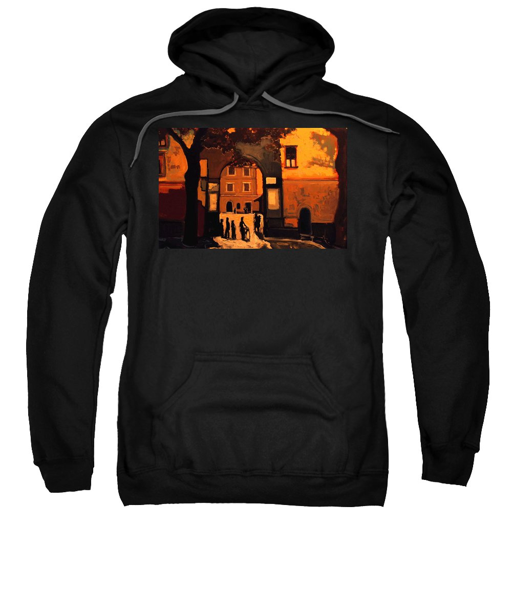 Cityscape Sweatshirt featuring the painting Dusk by Kurt Hausmann