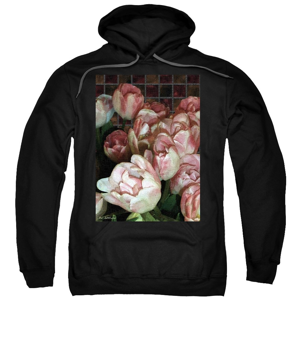 Classical Sweatshirt featuring the painting Dutch Tulips Dutch Tile by RC DeWinter
