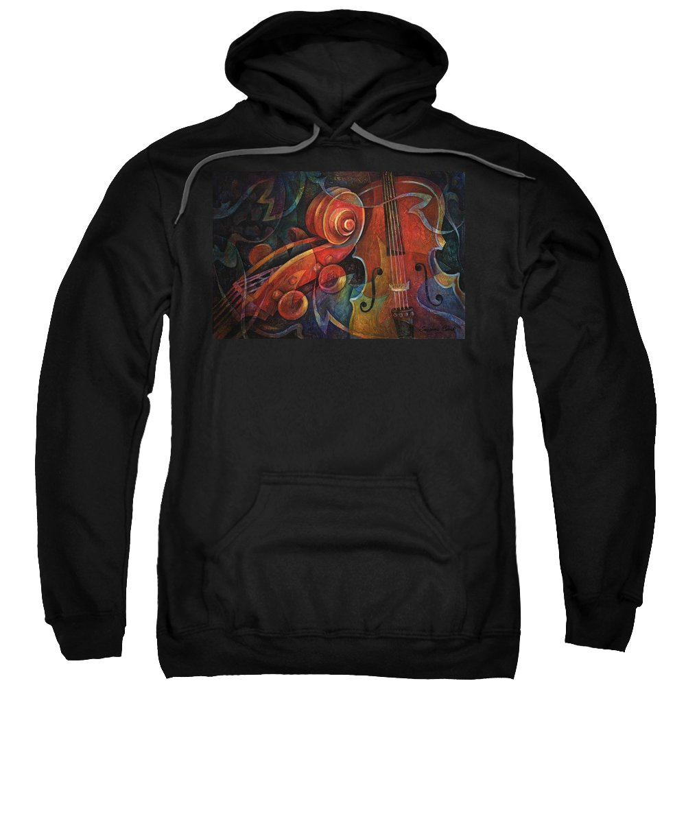 Susanne Clark Sweatshirt featuring the painting Dynamic Duo - Cello And Scroll by Susanne Clark