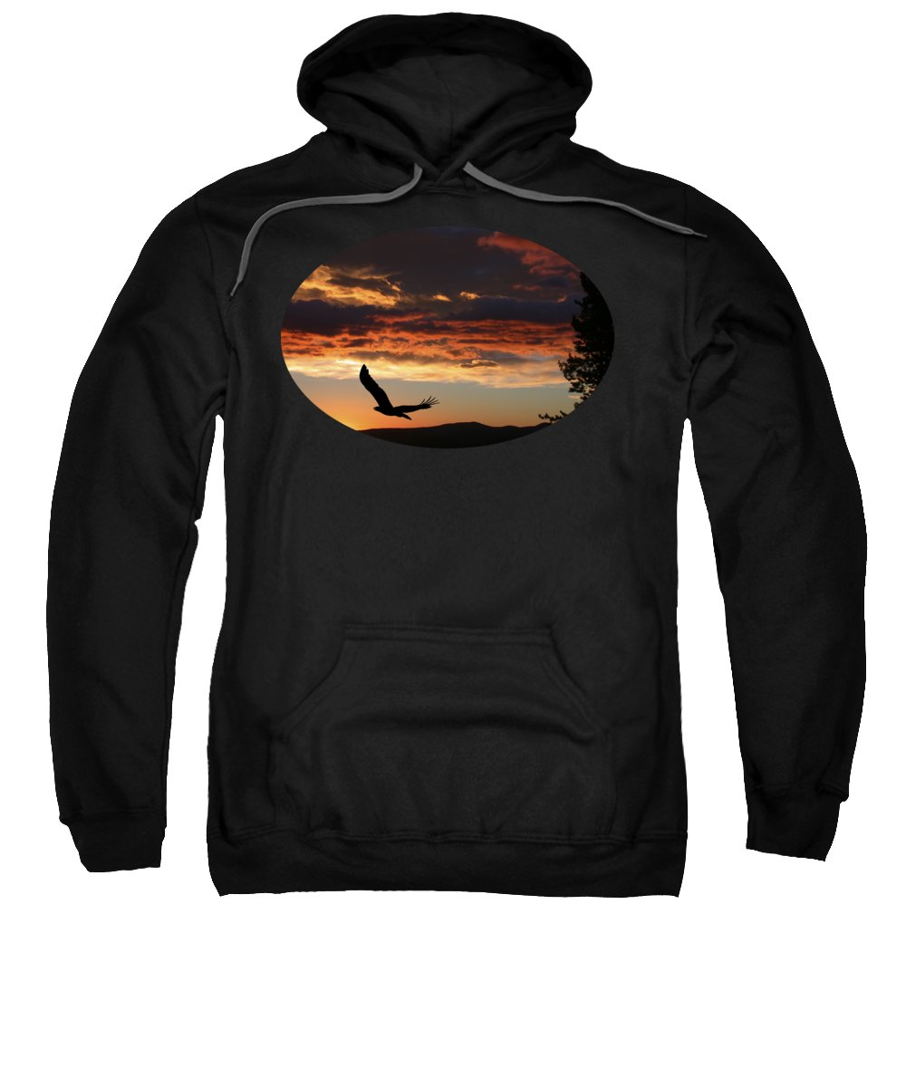 Bald Eagle Sweatshirt featuring the photograph Eagle At Sunset by Shane Bechler