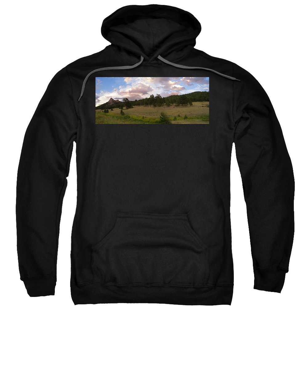 Eagle Roick Sweatshirt featuring the photograph Eagle Rock Estes Park Colorado by Heather Coen