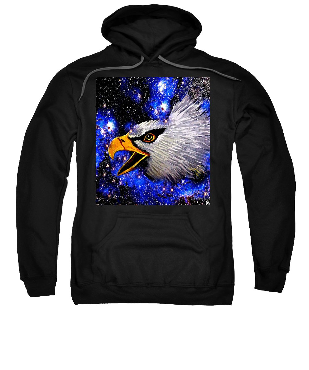 Eagle Sweatshirt featuring the painting Eagle by Saundra Myles