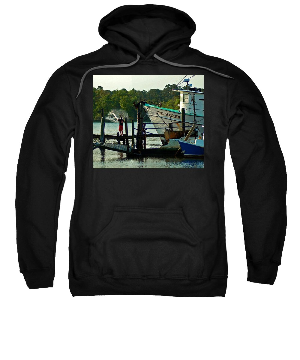 Shrimp Boat Sweatshirt featuring the painting Early Morning Net Toss by Michael Thomas
