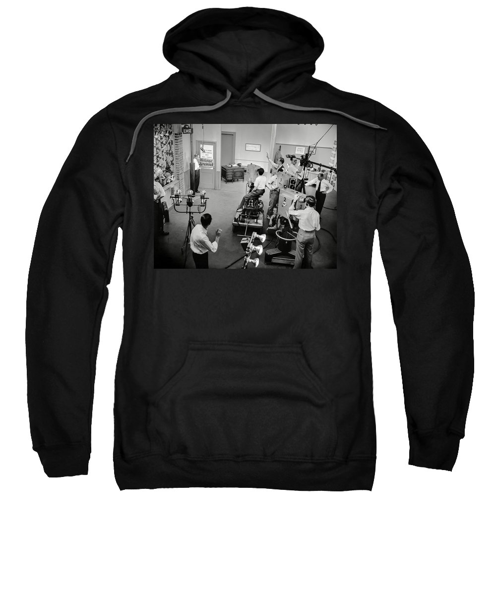 Television Sweatshirt featuring the photograph Early Television Production 1947 by Daniel Hagerman