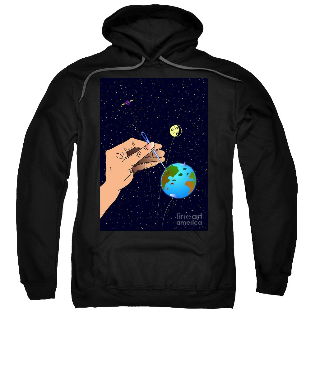 Ironic Sweatshirt featuring the digital art Earth Like An Inflatable Balloon by Michal Boubin