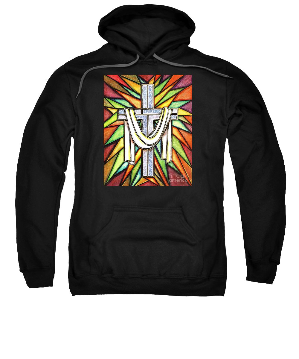 Cross Sweatshirt featuring the painting Easter Cross 5 by Jim Harris
