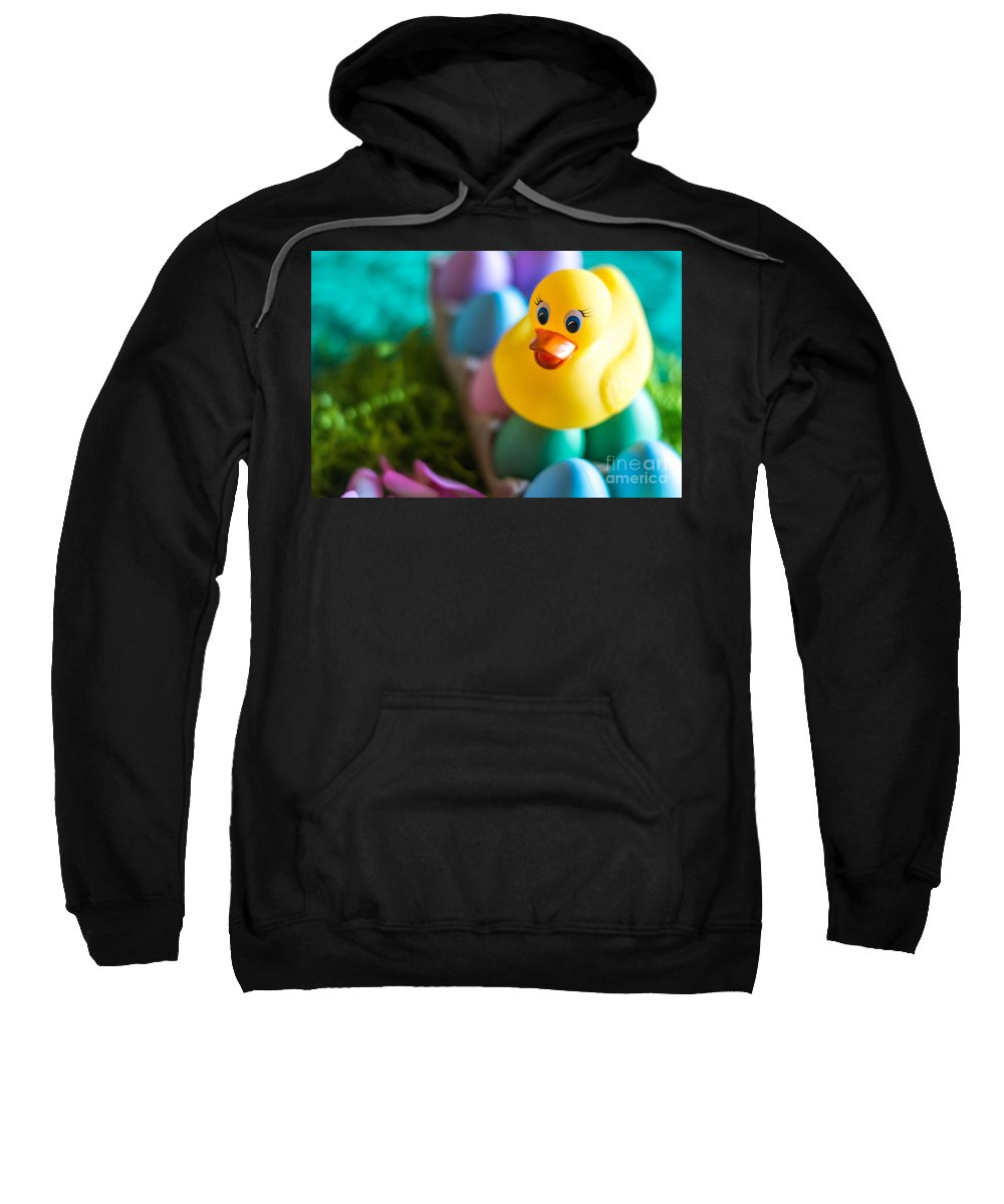 Spring Sweatshirt featuring the photograph Easter Duckie by Pamela Williams