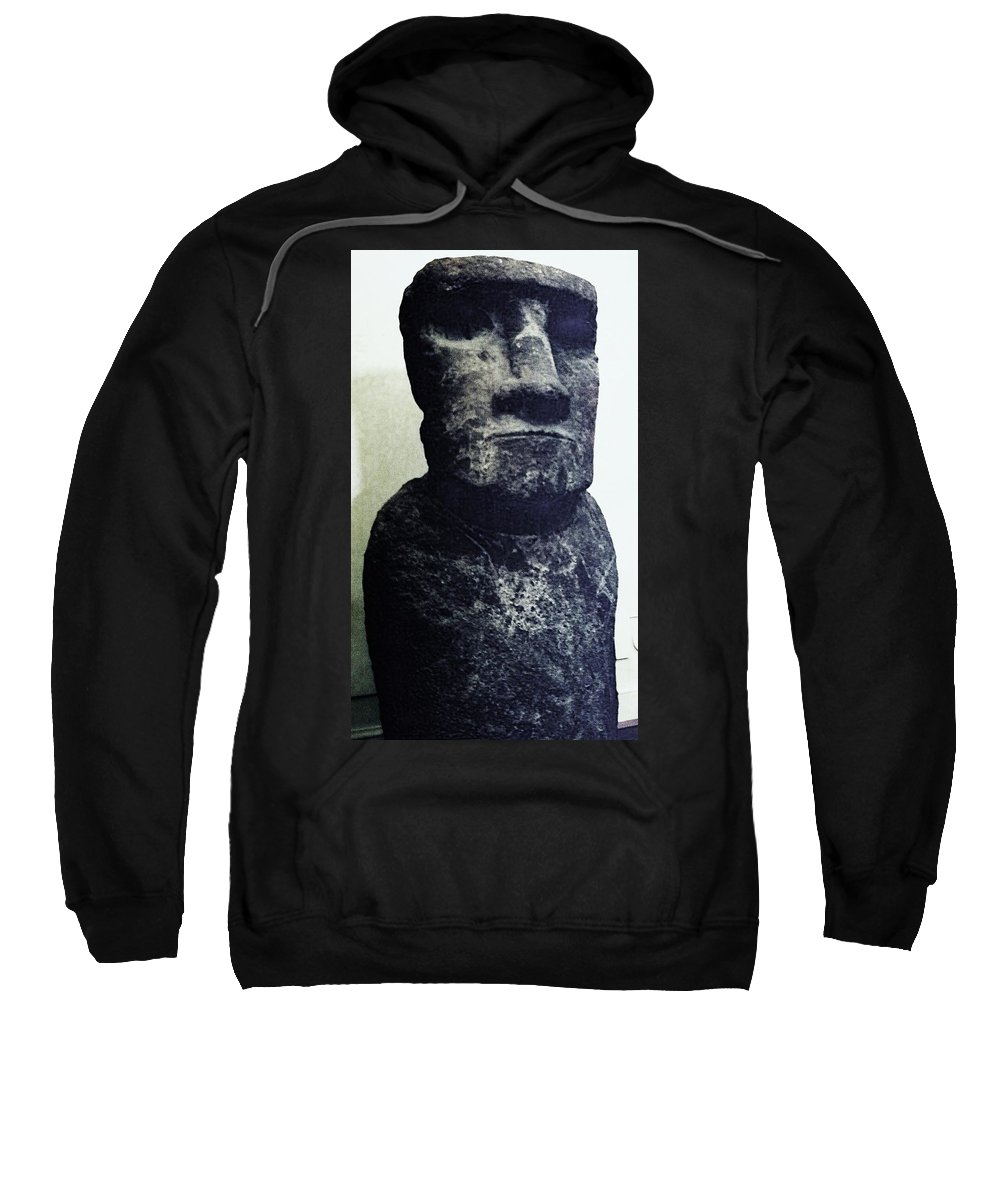 Easter Island Sweatshirt featuring the painting Easter Island Stone Statue by Eric Schiabor