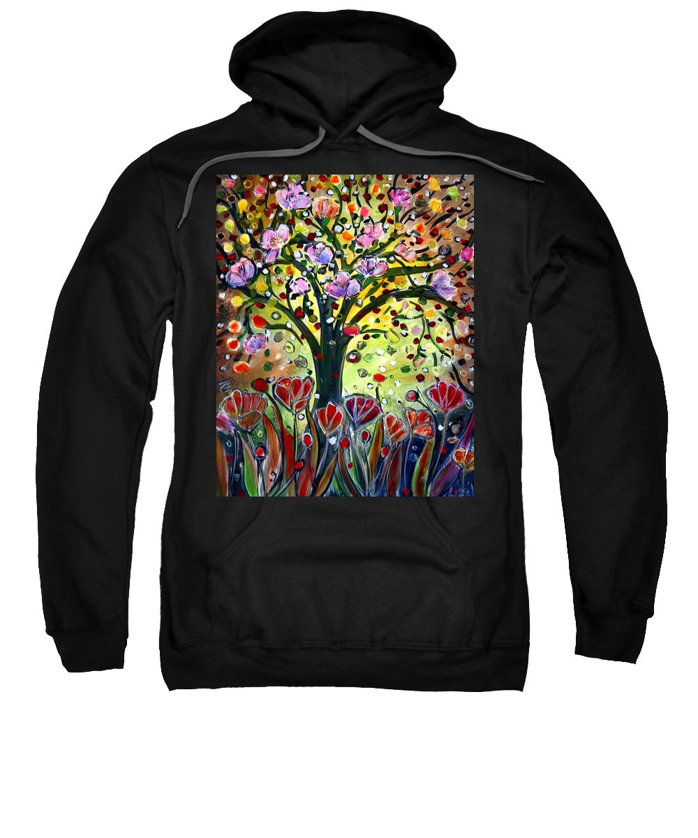 Flowers Sweatshirt featuring the painting Eden Garden by Luiza Vizoli