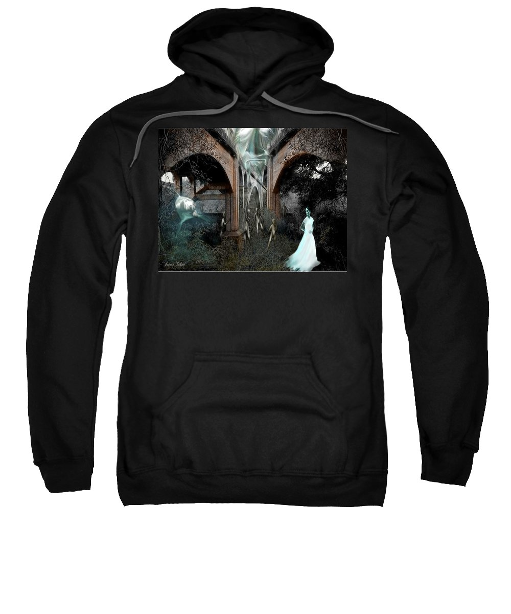 Eden Surreal Creatures Bridges Dreaming Sweatshirt featuring the digital art Eden by Veronica Jackson