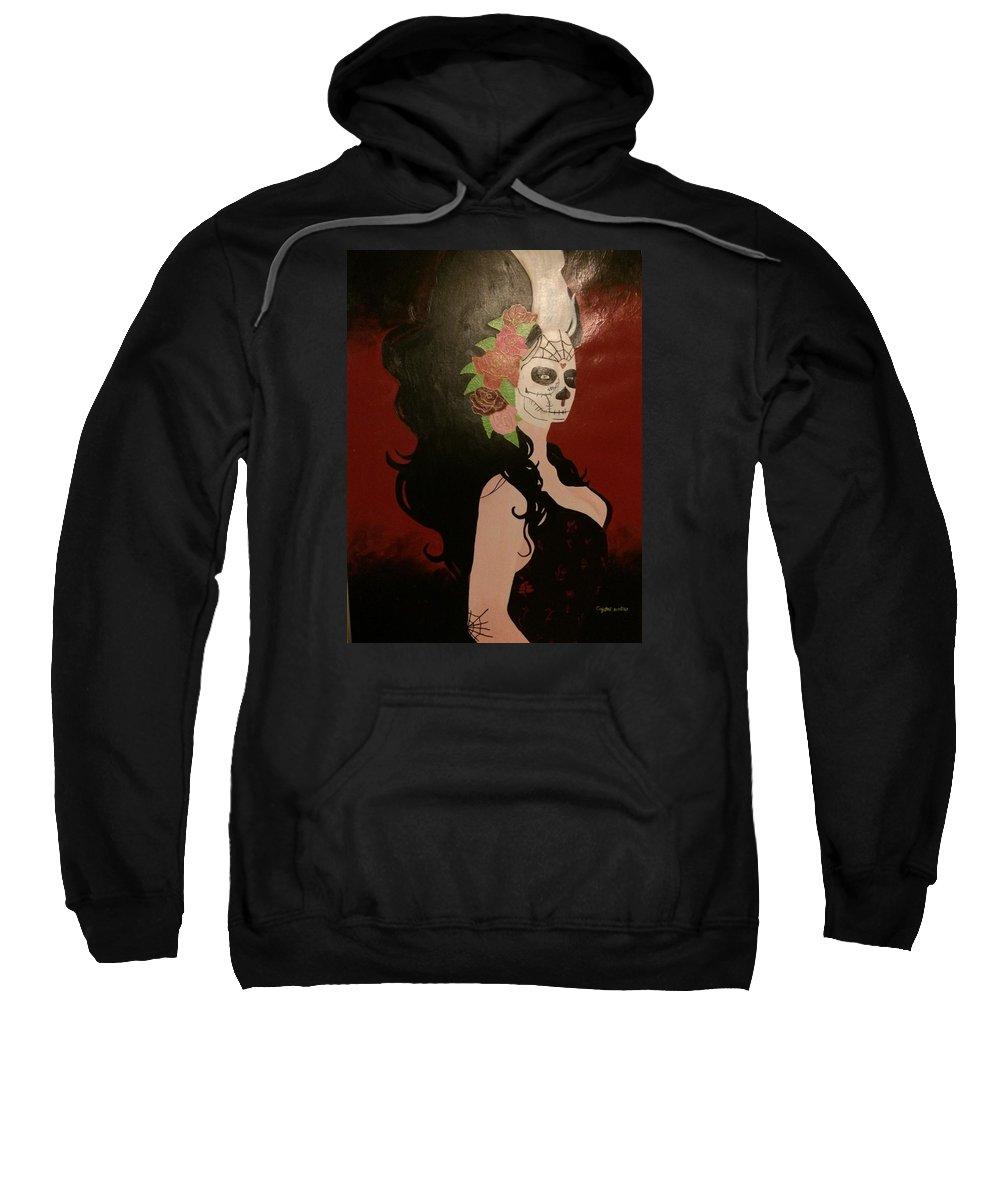 Zombie Sweatshirt featuring the painting El Dia De Los Muertos by Crystal Gardner