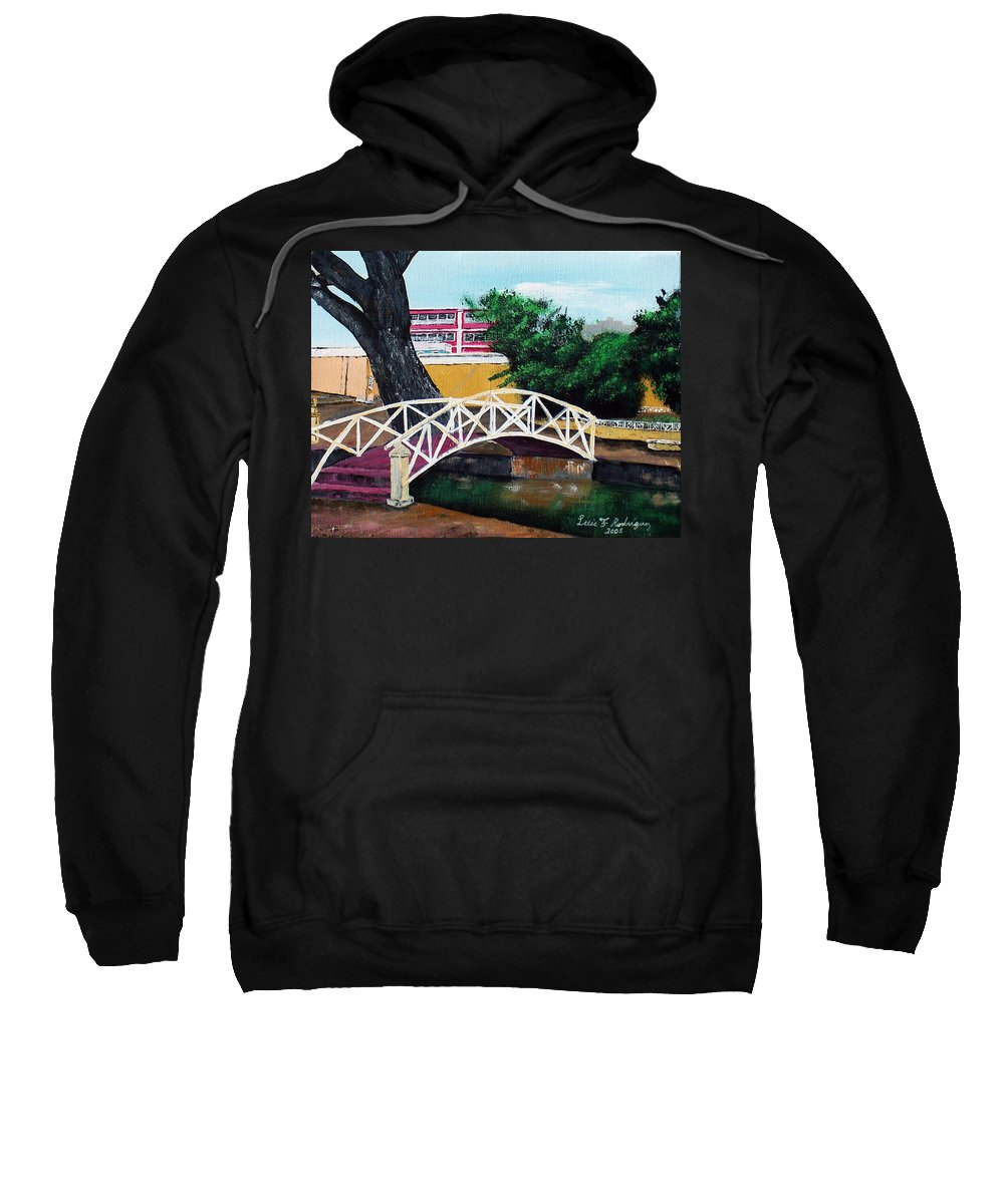 Aguadilla Sweatshirt featuring the painting El Parterre by Luis F Rodriguez