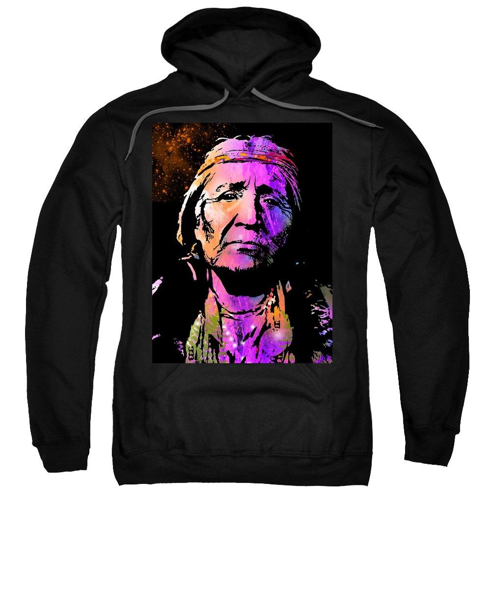 Native Americans Sweatshirt featuring the painting Elderly Hupa Woman by Paul Sachtleben