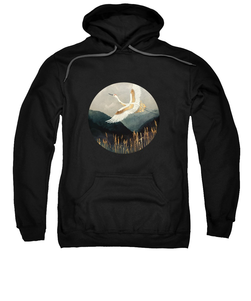 Crane Sweatshirt featuring the digital art Elegant Flight by Spacefrog Designs
