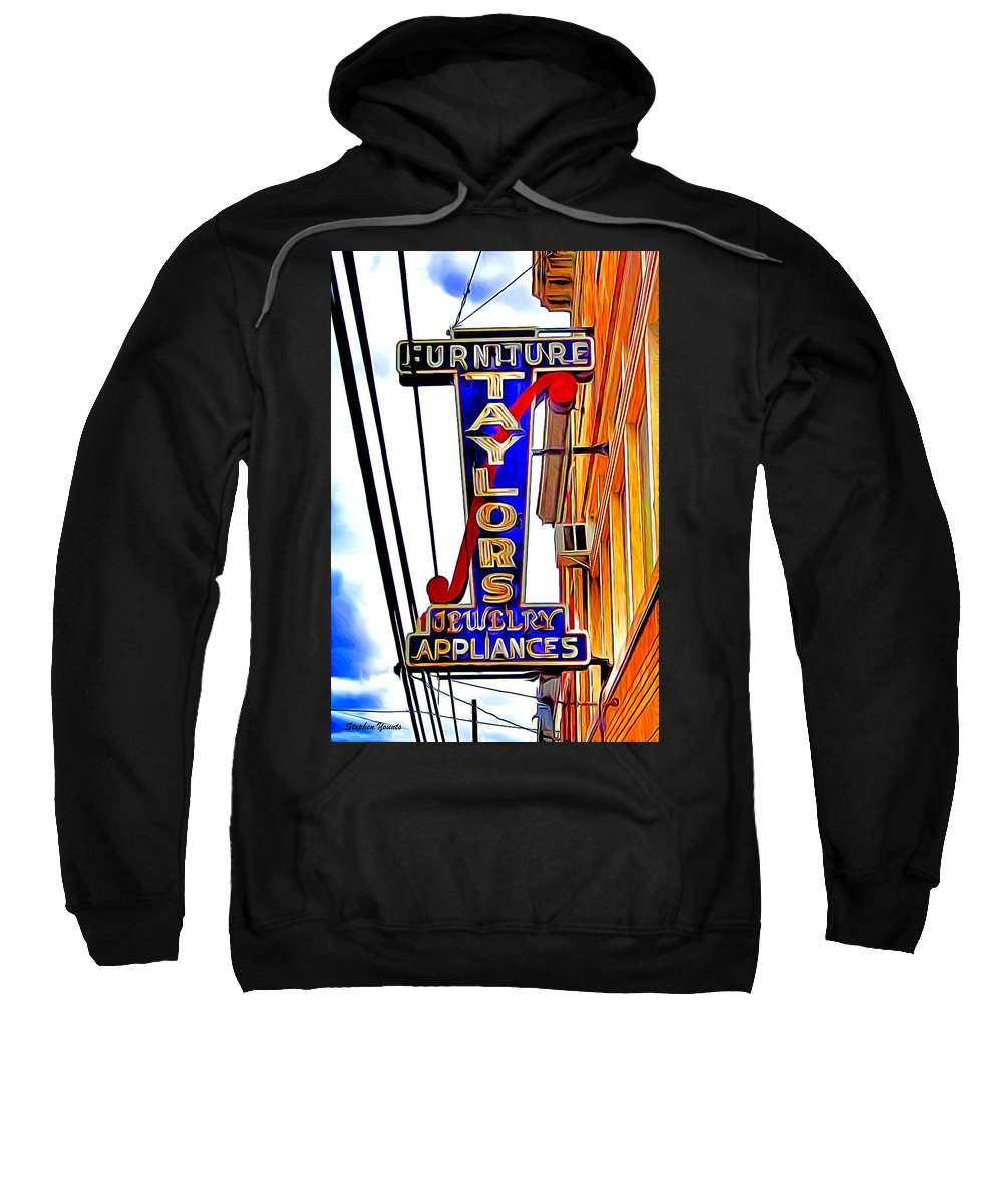 Ellicott Sweatshirt featuring the digital art Ellicott City Taylor's Sign by Stephen Younts