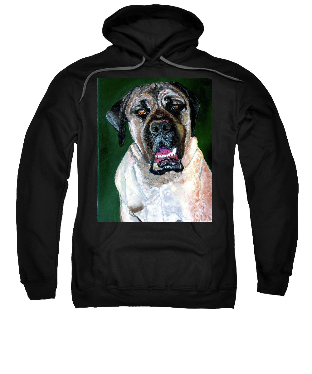 Dog Portrait Sweatshirt featuring the painting Ely by Stan Hamilton