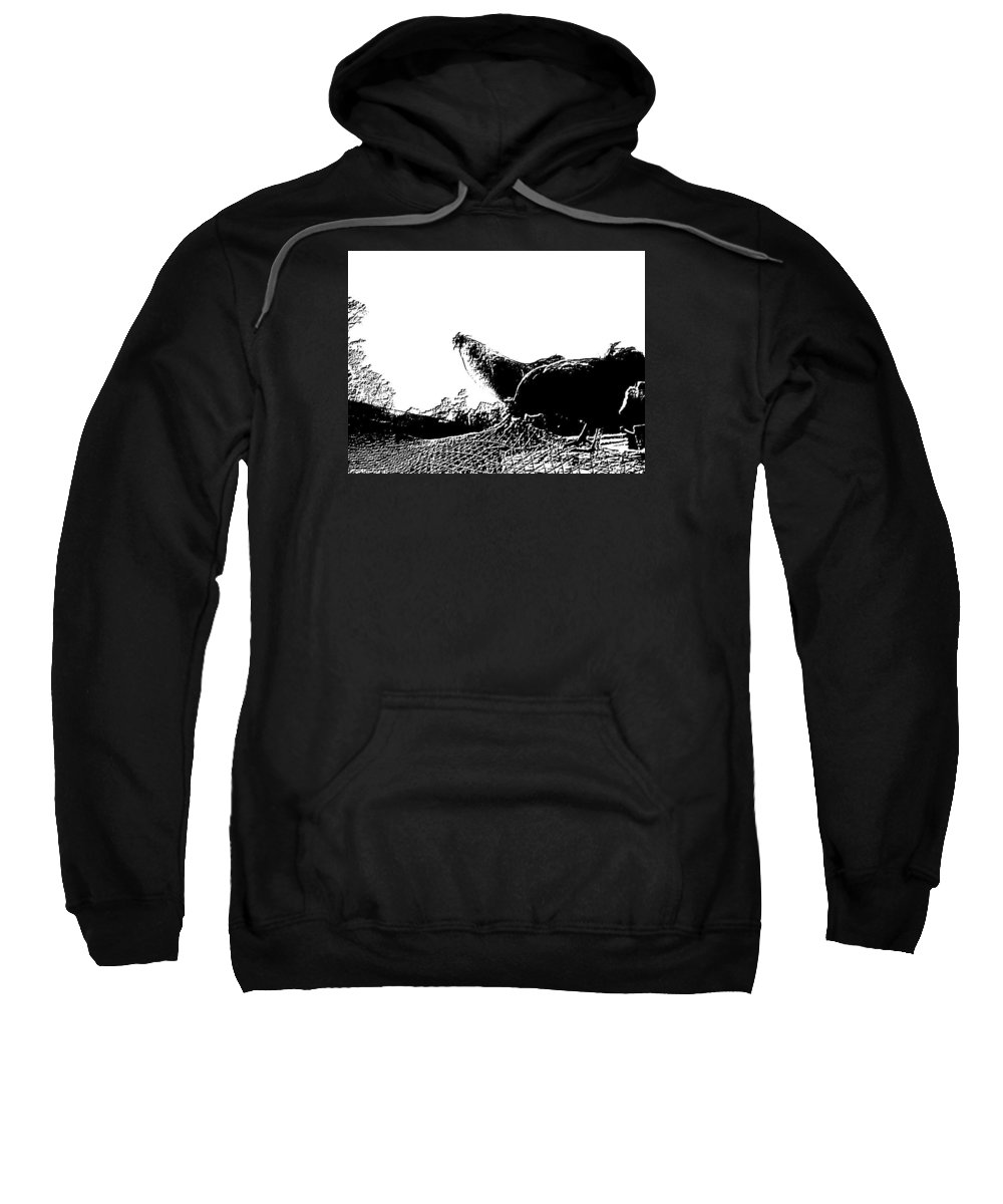 Rooster Sweatshirt featuring the photograph Embossed Roosters by Dawn Mullis