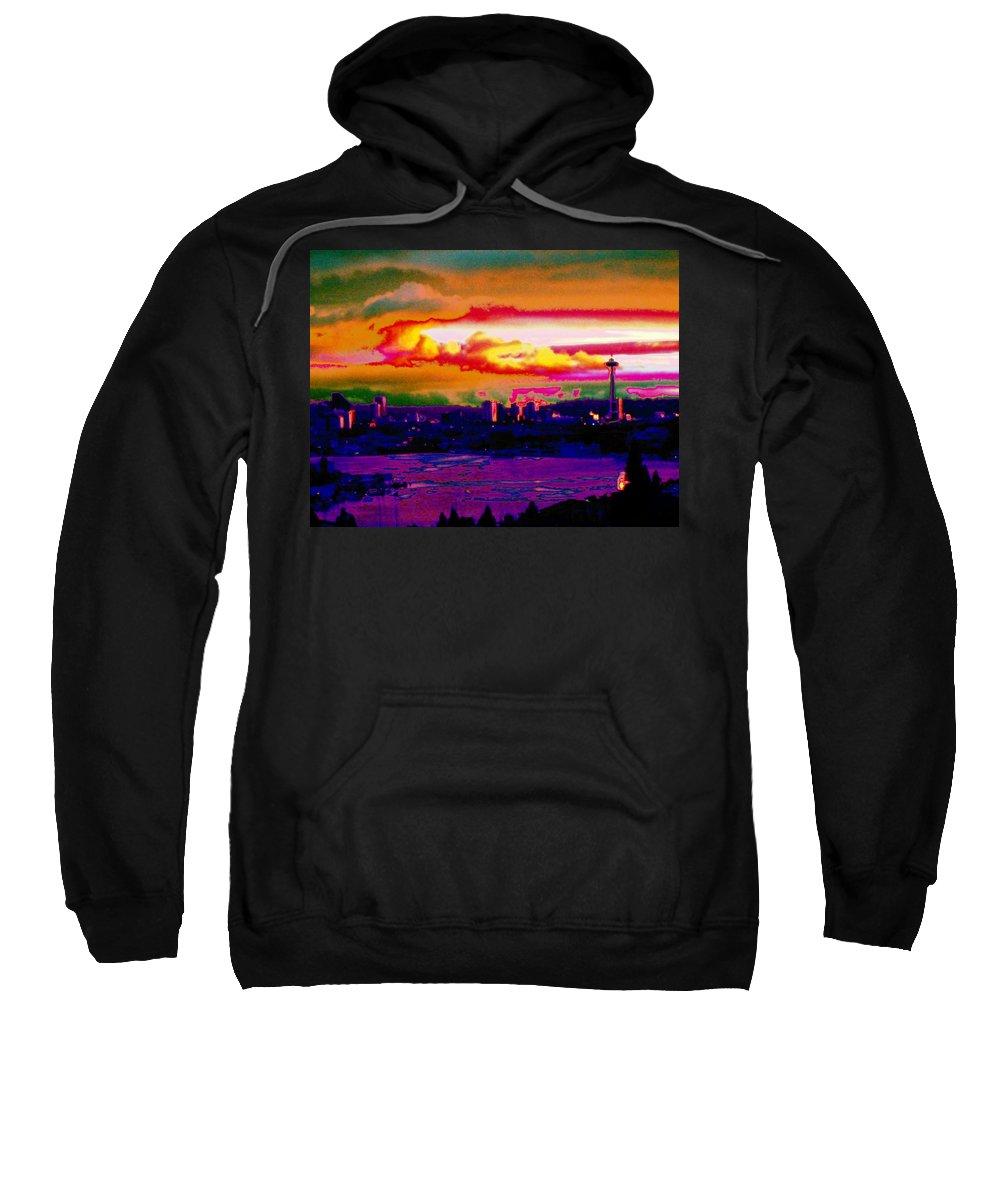 Seattle Sweatshirt featuring the photograph Emerald City Sunset by Tim Allen