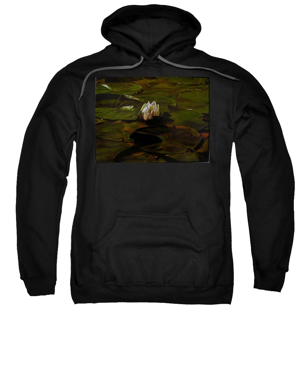 Lily Pad Sweatshirt featuring the painting Emerging One by Thu Nguyen