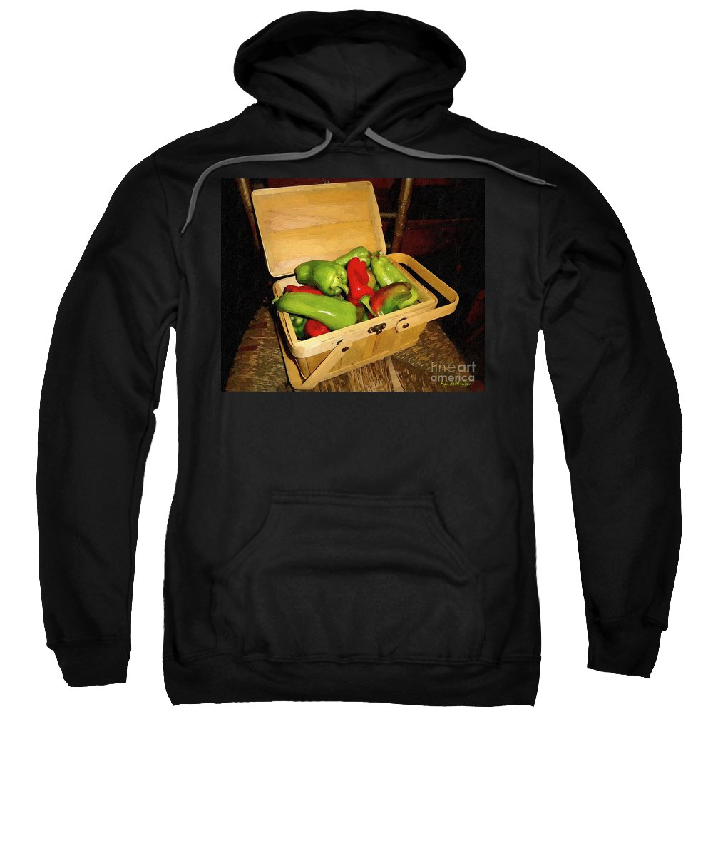 Peppers Sweatshirt featuring the painting Emmy's Peppers by RC DeWinter
