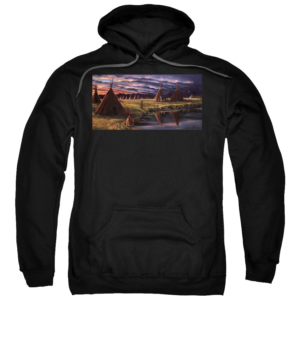 Native American Sweatshirt featuring the painting Encampment At Dusk by Nancy Griswold